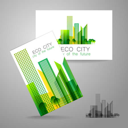 エコシティ - ロゴ。コーポレート ・ アイデンティティの概念はテンプレート。  イラスト・ベクター素材