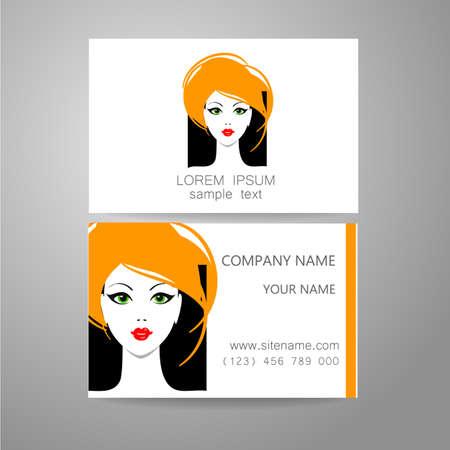 branded: Hair salon, hairdresser - template logo. Branded business card hair stylist. Illustration