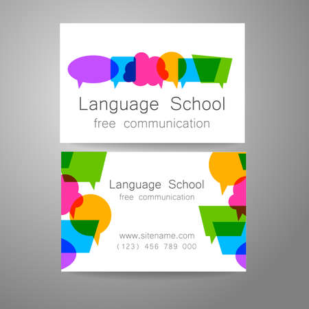free education: Language school logo - a design template. The idea of the design mark for the school, courses, speaking club, linguistic center, translation agency. Design brand business card.