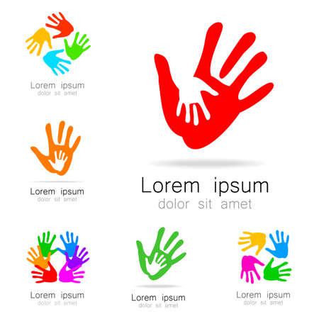 organizations: Hands - a collection of logo templates. Design Ideas for team logo, companies, organizations, foundations, social project, unions and others.