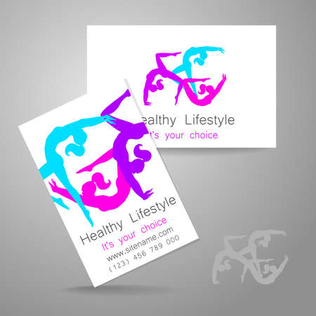 corporate women: Fitness logo. Corporate design template business card sports club, fitness center, beauty salon and others.