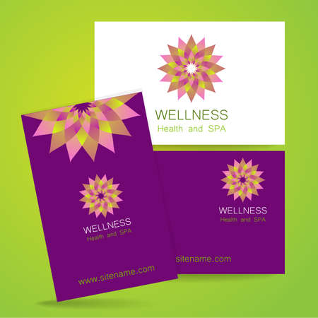 natural therapy: Wellness logo. Template design corporate identity for yoga studios, recreation center, organic food store, natural cosmetics manufacturer, beauty salon, spa and others.