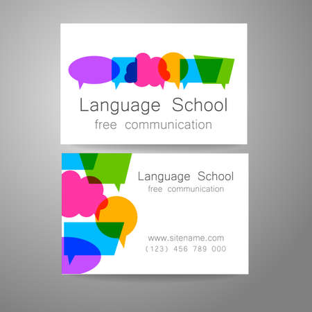 conversations: Language school logo - a design template. The idea of the design mark for the school, courses, speaking club, linguistic center, translation agency. Design brand business card.