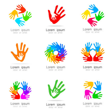 health care logo: Hands - a collection of logo templates. Design Ideas for team logo, companies, organizations, foundations, social project, unions and others.