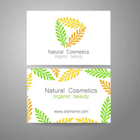 natural cosmetics: Natural Cosmetics - logo. The concept of corporate identity. Template design for organic bio cosmetics.