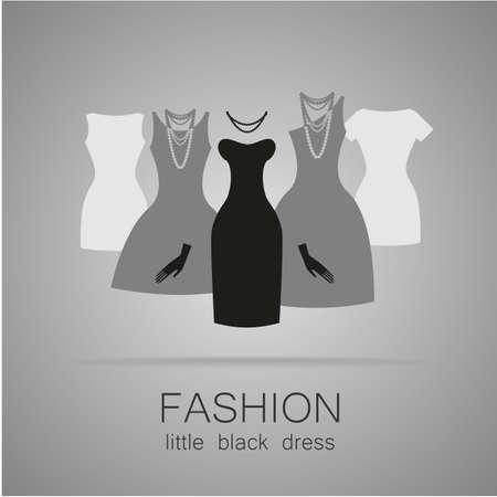 petite fille avec robe: Robe noire - mode classique. Logo Mod�le pour un magasin de v�tements, robes de charme marque les femmes des femmes. Illustration