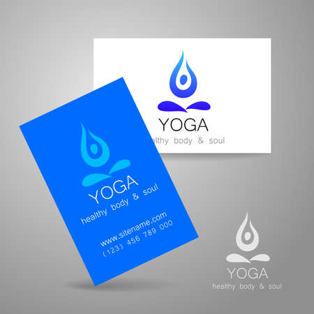 relaxation: Yoga logo - sign design and business cards. Template for yoga studios, classes, schools, the center of Ayurveda, health, oriental spa center and others.