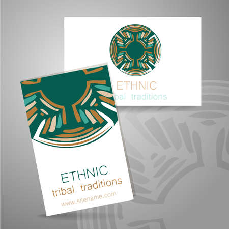 Ethnic logo - a traditional symbol. Template design of corporate identity in the traditional style of ethnic shops, yoga studios, a center of cultural development, organic food store, natural cosmetics manufacturer and others.