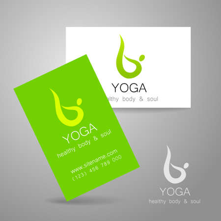 health spa: Yoga logo - sign design and business cards. Template for yoga studios, classes, schools, the center of Ayurveda, health, oriental spa center and others.