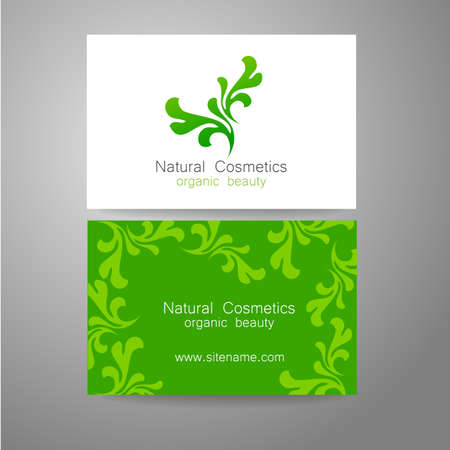 leaf logo: Natural Cosmetics - logo. The concept of corporate identity. Template design for organic bio cosmetics.