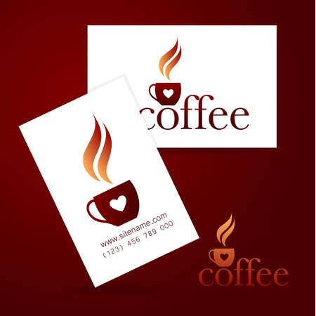 identity card: Coffee logo. Corporate identity design for coffee house, coffee shop, bar, etc. Template design business card.