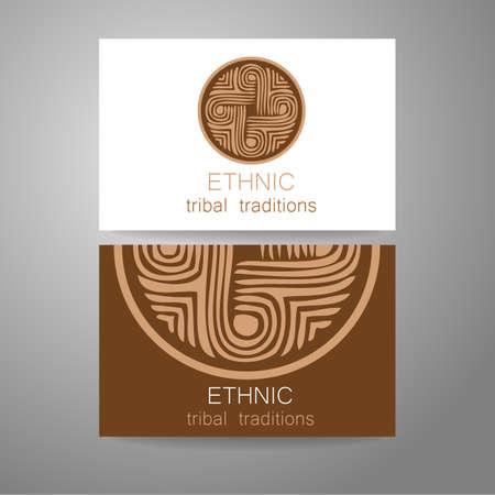 identidad cultural: Logo étnico - un símbolo tradicional. Diseño de la plantilla de identidad corporativa en el estilo tradicional de tiendas étnicas, estudios de yoga, un centro de desarrollo cultural, tienda de alimentos orgánicos, fabricante de cosméticos naturales y otros.
