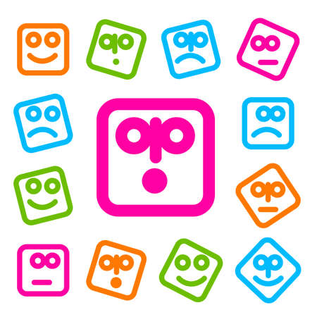social networking: Collection of smiles icons for design. Simple original templates for SMS, MMS, instant messaging, social networking.