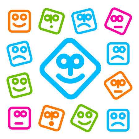 mms: Collection of smiles icons for design. Simple original templates for SMS, MMS, instant messaging, social networking.