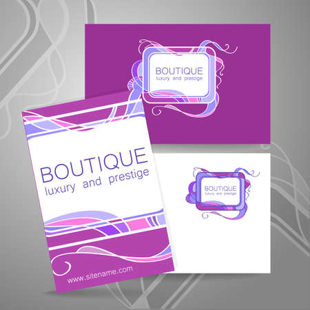highend: Boutique logo. Template design of corporate identity for the prestigious high-end salon,  brand, restaurant, store, spa and etc. Illustration