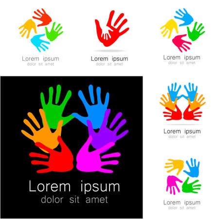 señales de seguridad: Manos - una colección de plantillas de logotipo. Ideas de diseño para logotipo del equipo, empresas, organizaciones, fundaciones, proyectos sociales, sindicatos y otros.
