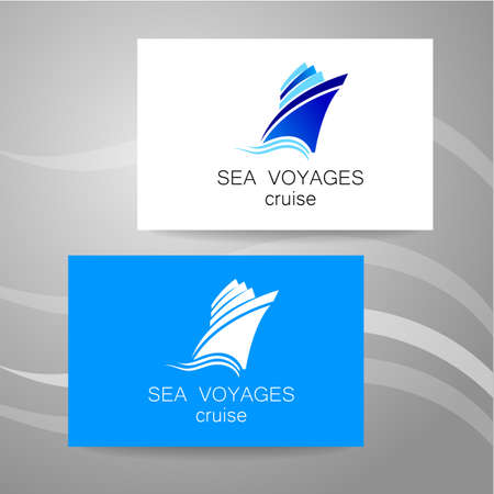 vessel: Sea cruise - logo. Design of the presentation of corporate identity on the example of a business card.