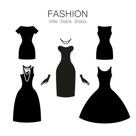Black dress on a white background. The collection of clothing and accessories. Illustration