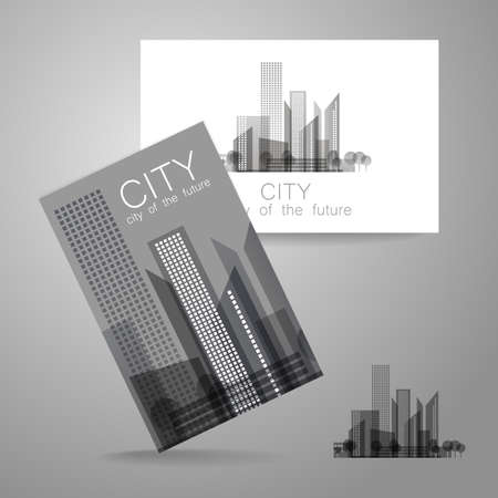 business buildings: Eco city - logo. Template concept of corporate identity.