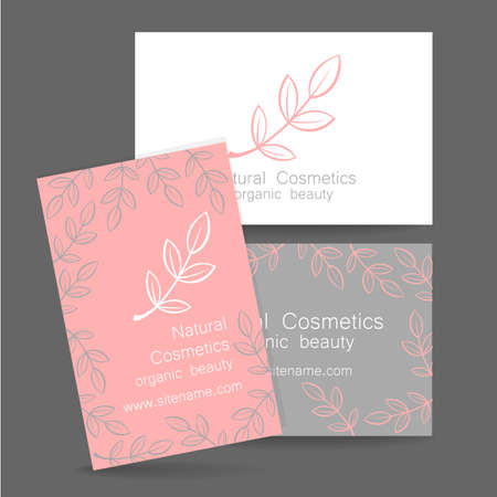 business products: Natural cosmetics logo. Template design for organic bio products. Presentation of the business card.