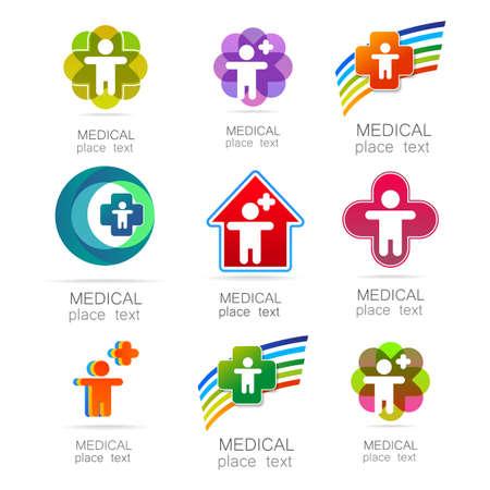 logo medicina: Insignia médica - el concepto de signo de una institución médica, centro, fundación, organización, asociación, hospital. Colección del vector. Vectores