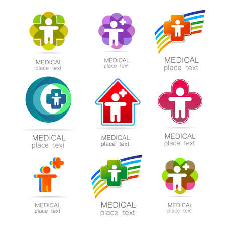 hospital symbol: Medical logo - the concept for sign a medical institution, a center, foundation, organization, association, hospital. Vector collection.