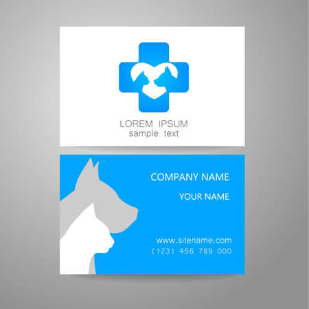 animal shelter: Veterinary - template logo. The idea of the logo for the veterinary service, pharmacy, hospital, center care, shelter animals. Branded business card.