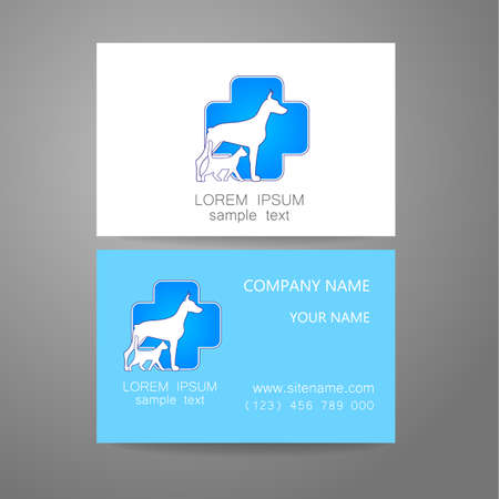 shop: Veterinary - template logo. The idea of the logo for the veterinary service, pharmacy, hospital, center care, shelter animals. Branded business card.