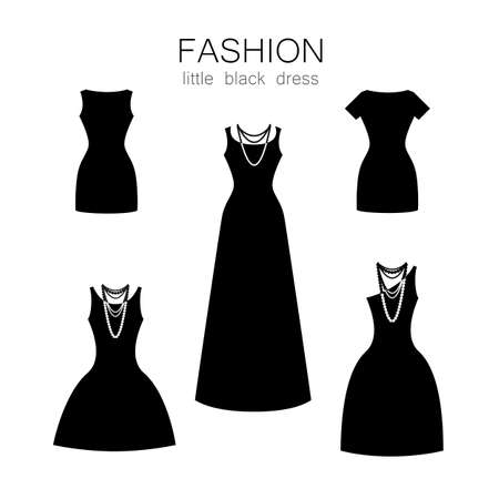 elegant woman: Black dress on a white background. The collection of clothing and accessories. Illustration