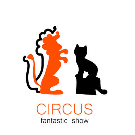 trained: Circus - template logo. Show trained animals. Illustration