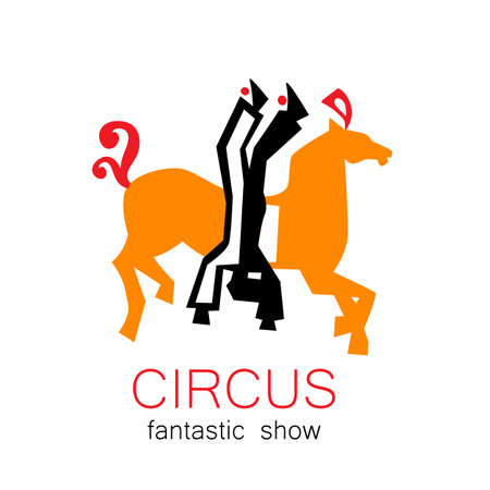 tightrope: Circus - template logo. Show of acrobats, tightrope walkers on horseback.