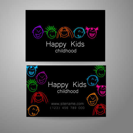 happy business team: Happy children logo. Template design sign for school, kindergarten, summer camps, childrens team and others. Branded business card.