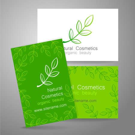 productos naturales: Logotipo de la cosmética natural. Diseño de la plantilla para los productos bio orgánicos. Presentación de la tarjeta de visita.