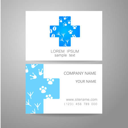 pet services: Veterinary - template logo. The idea of the logo for the veterinary service, pharmacy, hospital, center care, shelter animals. Branded business card.