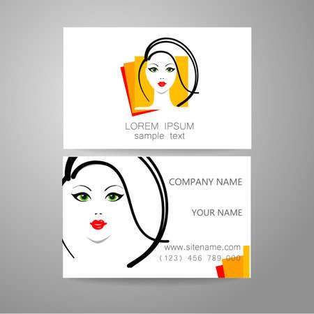 stylist: Hair salon, hairdresser - template logo. Branded business card hair stylist. Illustration