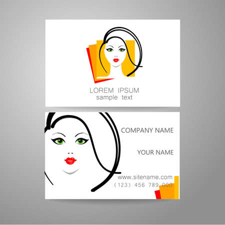 coiffeur: Salon de coiffure, salon de coiffure - mod�le logo. Branded carte de visite coiffeur.