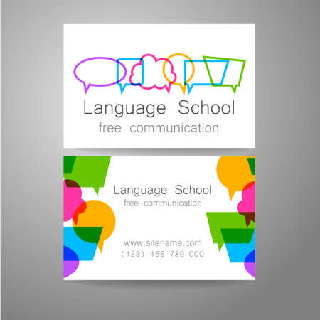 talking dictionary: Language school logo - a design template. The idea of the design mark for the school, courses, speaking club, linguistic center, translation agency. Design brand business card.