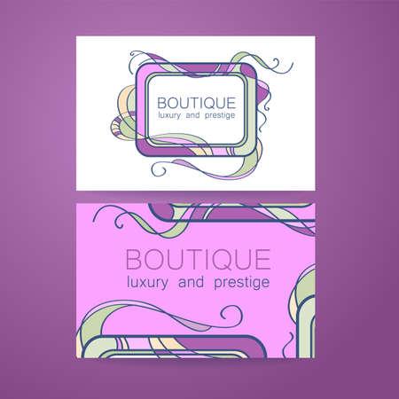 jewellery: Boutique logo. Template design of corporate identity for the prestigious high-end salon,  brand, restaurant, store, spa and etc. Illustration