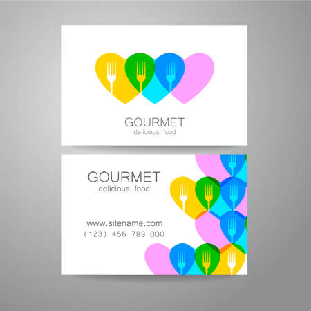gourmet: Gourmet - restaurant logo. Design corporate brand and the business card of the restaurant with refined cuisine.