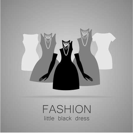 Zwarte jurk - klassieke mode. Sjabloon logo voor een kledingwinkel, jurken vrouwen boutique merk vrouwen.