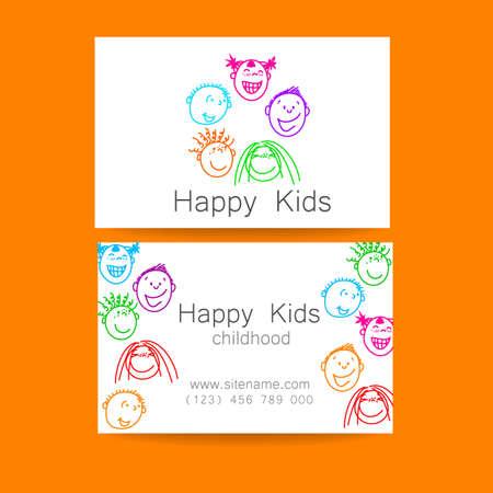 kinder: Niños felices logotipo. Signo de Diseño de la plantilla para la escuela, guardería, campamentos de verano, el equipo de los niños y otros. Tarjeta de visita de la marca.