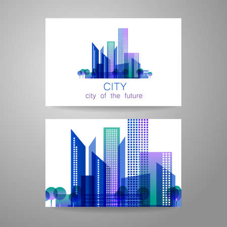 real business: Eco city - logo. Template concept of corporate identity.