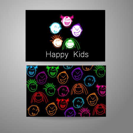 Niños felices logotipo. Signo de Diseño de la plantilla para la escuela, guardería, campamentos de verano, el equipo de los niños y otros. Tarjeta de visita de la marca.