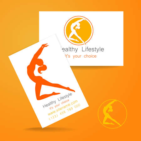 fitness center: Fitness logo. Corporate design template business card sports club, fitness center, beauty salon and others.