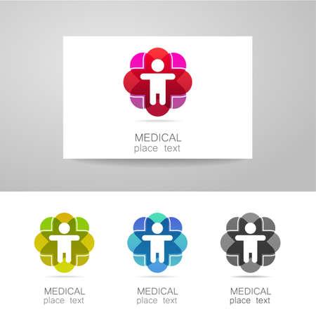 saludable logo: Insignia médica - el concepto de signo de una institución médica, centro, fundación, organización, asociación, hospital. Colección del vector. Vectores
