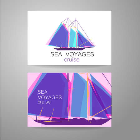 cruise ship: Sea cruise - logo. Design of the presentation of corporate identity on the example of a business card.