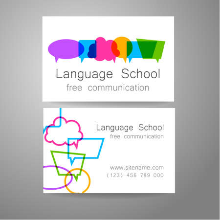 language dictionary: Language school logo - a design template. The idea of the design mark for the school, courses, speaking club, linguistic center, translation agency. Design brand business card.