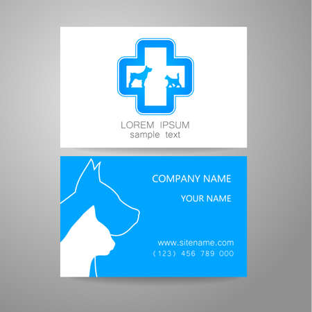 shelter: Veterinary - template logo. The idea of the logo for the veterinary service, pharmacy, hospital, center care, shelter animals. Branded business card.