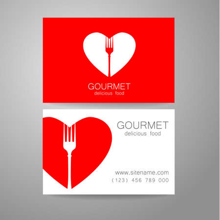 business card template: Gourmet - restaurant logo. Design corporate brand and the business card of the restaurant with refined cuisine.