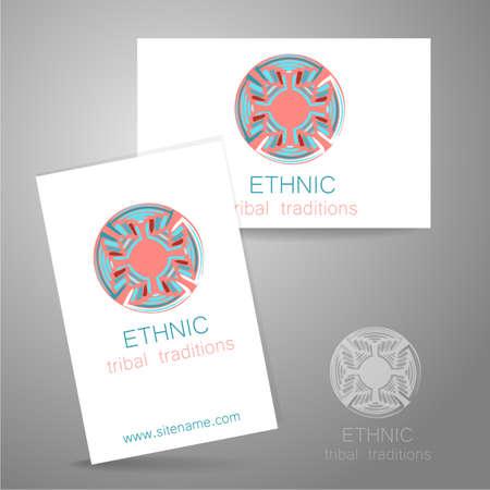 identidad cultural: Logo �tnico - un s�mbolo tradicional. Dise�o de la plantilla de identidad corporativa en el estilo tradicional de tiendas �tnicas, estudios de yoga, un centro de desarrollo cultural, tienda de alimentos org�nicos, fabricante de cosm�ticos naturales y otros.